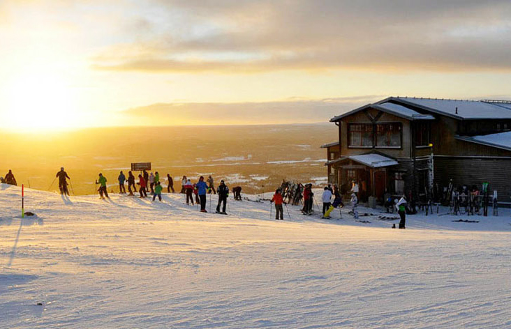 Skiers get ready to hit the slopes at the Idre ski resort in Sweden
