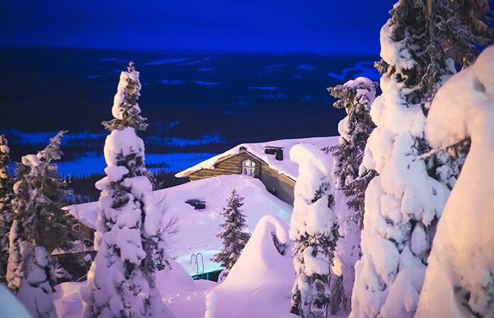 The typical night time scene at the scenic Ylläs ski resort