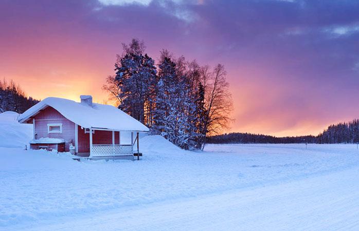 A pretty, desolate cabin at the Levi ski resort, Finland