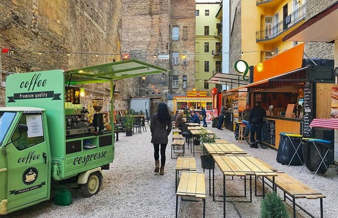 Small pop-up market in Budapest, one of the highlights of tour de Central Europe