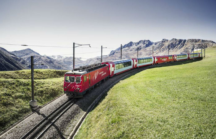The Glacier Express might be the slowest express train the world, but what a view!