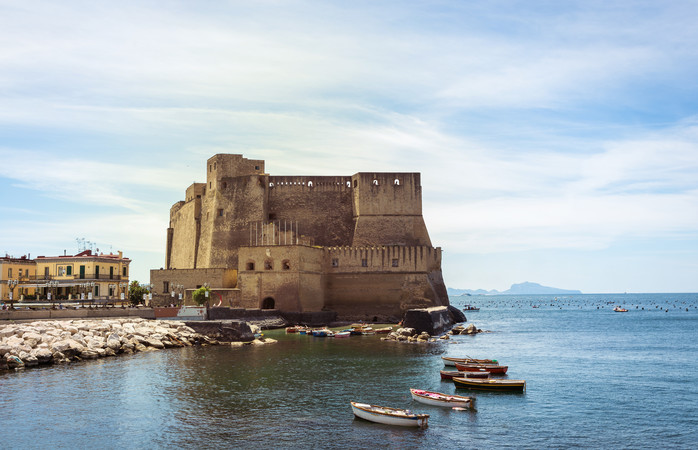 The famous Castel dell'Ovo sits in the Bay of Naples