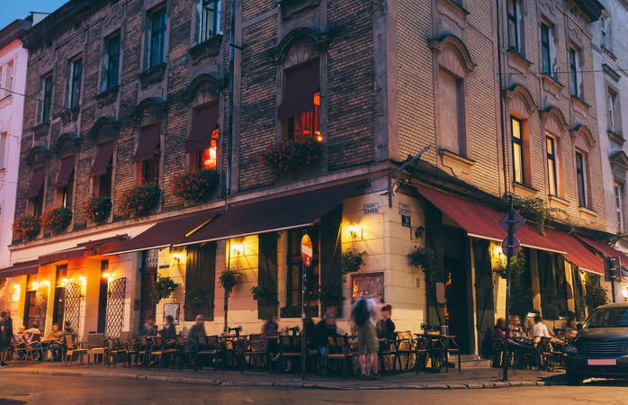 Charming cafes line the streets of Krakow's Jewish quarter